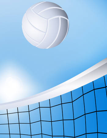 Vector illustration of a flying volleyball over the net Vector