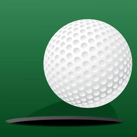 minigolf: Vector illustration of a golf ball on green background