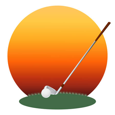 Vector illustration of a golf ball and a golf club