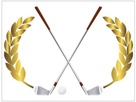 club: Illustrazione vettoriale di una pallina da golf e attraversando mazze da golf