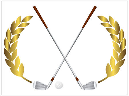 Vector illustration of a golf ball and crossing golf clubs