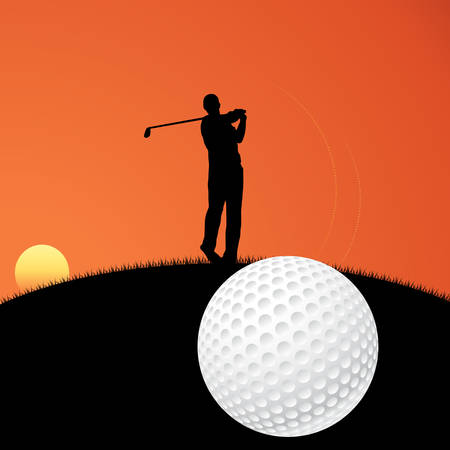 minigolf: Vector illustration of a golf player on sunset Illustration