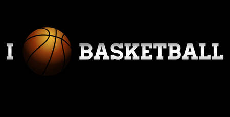 sports backgrounds: Vector illustration of a basketball on black background