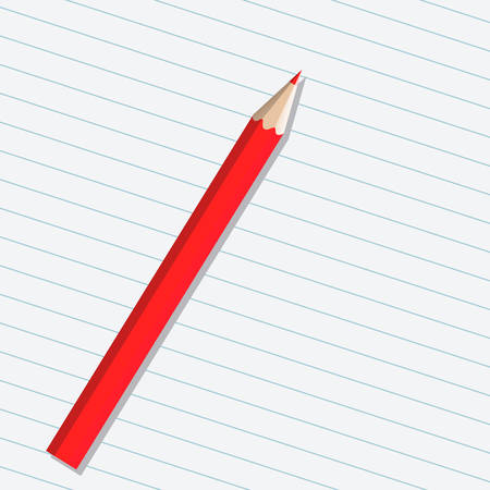 Realistic red vector pencil isolated on a sheet of paper Stock Vector - 23080171