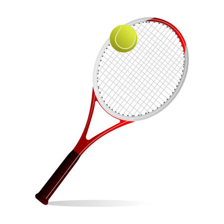 Vector illustration of a tennis ball and a racket Vector
