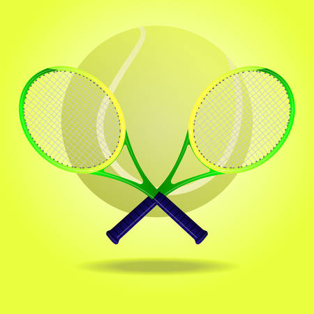 Vector illustration of a tennis ball and two crossing rackets Vector