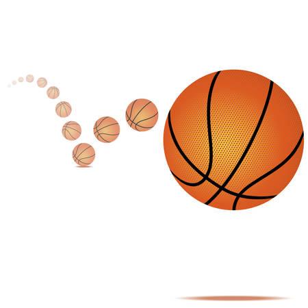 白い背景の上のバウンス バスケット ボールのベクトル イラスト