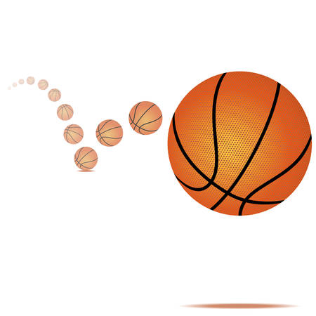 Vector illustration d'un ballon de basket rebondissant sur fond blanc