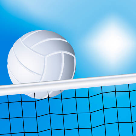 Vector illustration of a flying volleyball over the net