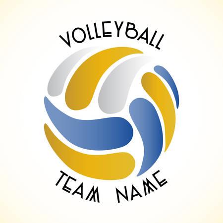 白い背景の上のバレーボール チームのベクターロゴ