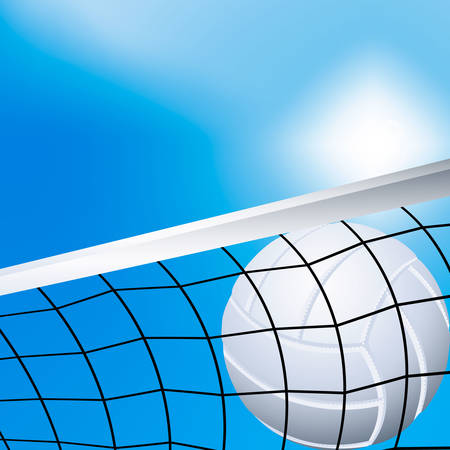 Vector illustration of a flying volleyball in the net Vector