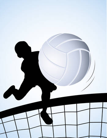 Vector illustration of a volleyball player on blue background