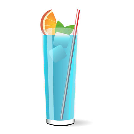 blue lagoon: Vector illustration of a blue lagoon cocktail Illustration