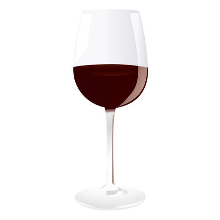 Vector illustration of a red wine glass Ilustração