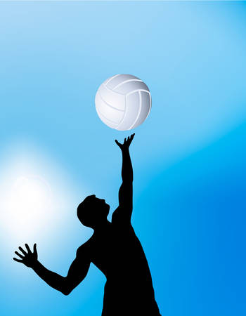 Vector illustration of a volleyball player on blue  Vector