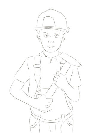 Sketchy vector illustration of an engineer boy Vector