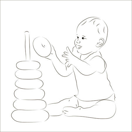 developmental: Sketchy vector illustration of a baby with a pyramid Illustration