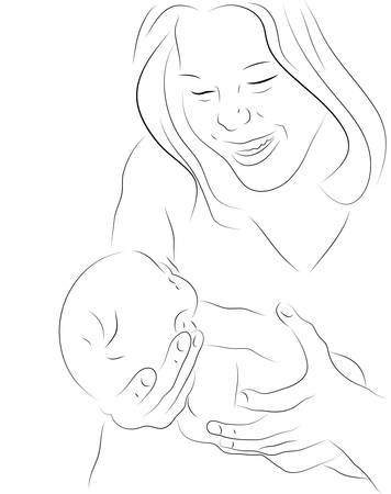 mother holding baby: Hand drawn silhouette of mother holding her baby