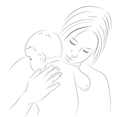 Hand drawn silhouette of mother and a baby Vector