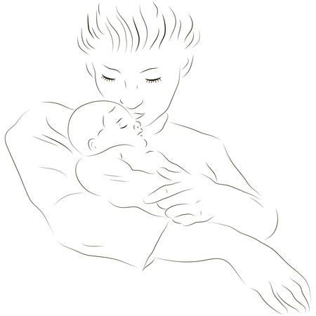 baby moeder: Schetsmatig vector illustratie van een moeder met een baby