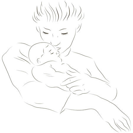Sketchy vector illustration of a mother with a baby Vector