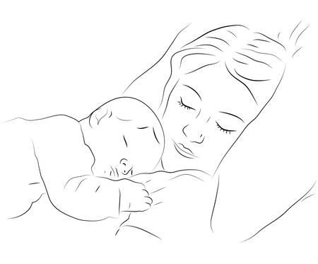 genitore figlio: Sketchy illustrazione vettoriale di una madre che dorme con un bambino