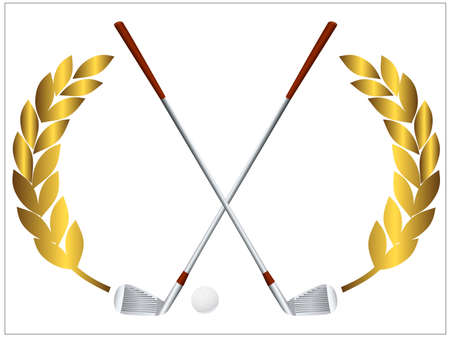minigolf: illustration of a golf ball and crossing golf clubs Stock Photo