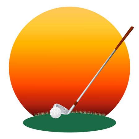 minigolf: illustration of a golf ball and a golf club