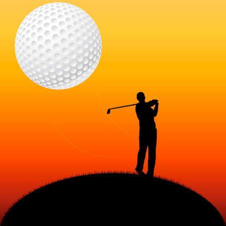 minigolf: illustration of a golf player on sunset Stock Photo