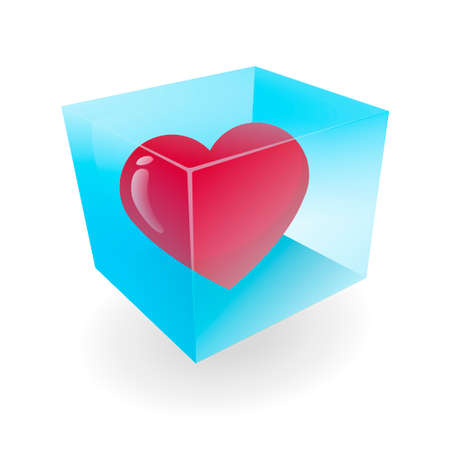 illustration of a blue glass cube with a heart Stock Illustration - 27779558