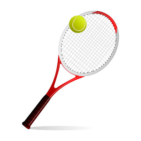 tenis: illustration of a tennis ball and a racket