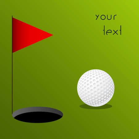 minigolf: illustration of a golf ball on green background Stock Photo