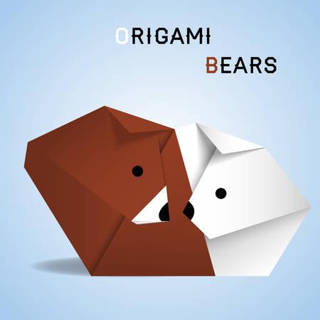 тундра: Векторная иллюстрация оригами полярной и бурых медведей Иллюстрация