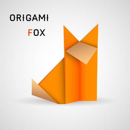 Vector illustration of origami fox on white background Vector