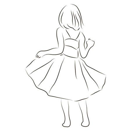 Vector sketch illustration of a little girl
