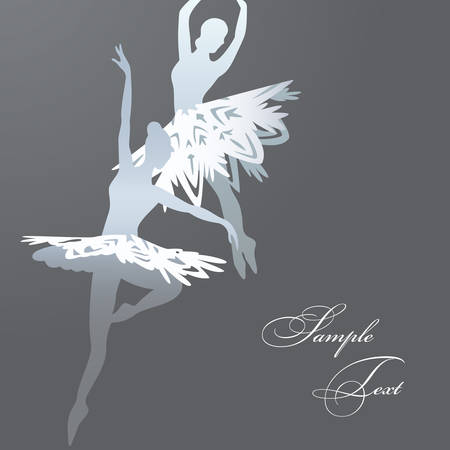 modern dancer: Vector illustration of two ballet dancers made of snowflakes