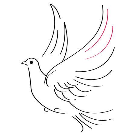 흰색 배경에 비행 비둘기의 벡터 일러스트 레이 션 일러스트
