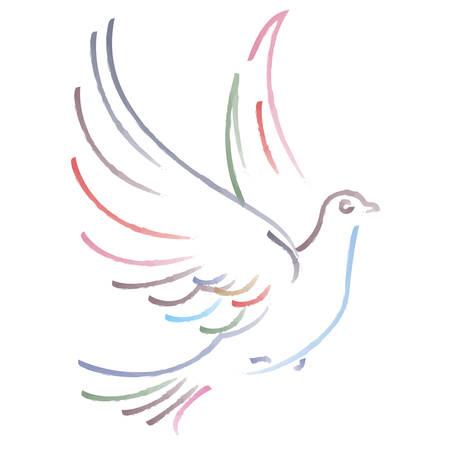 Ilustración del vector del vuelo de la paloma en el fondo blanco