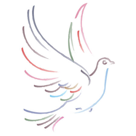 Vector illustration of flying dove on white background Çizim