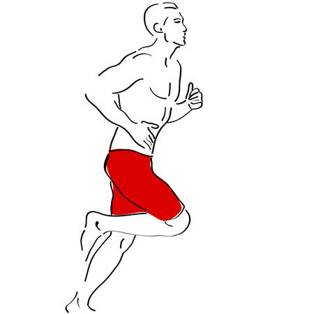 nudity: Vector sketch of a running man Illustration