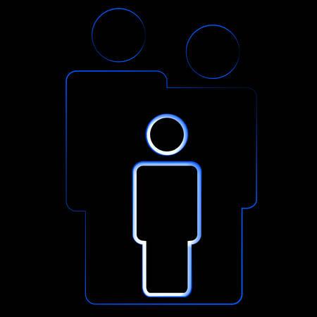 black family: Vector illustration of a family logotype on black background