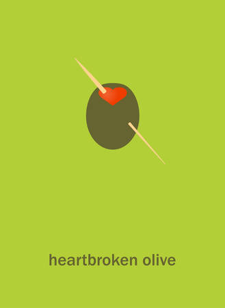 heartbroken: Vecror illustration of a heartbroken olive on green background