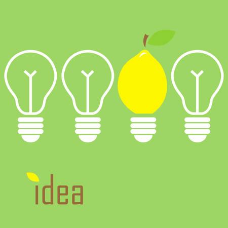Vecror illustration of a bulb in a lemon shape