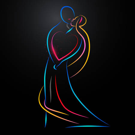 couples: Vecror illustration of a colorful kissing couple