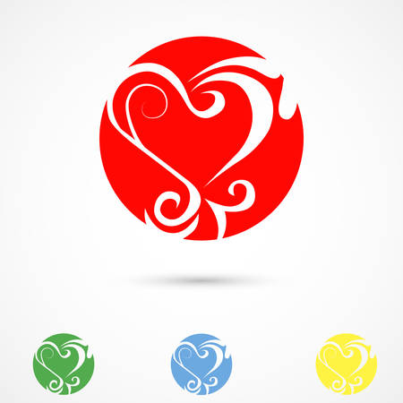 colorful heart: Vector illustration of colorful heart patterns on white background Illustration
