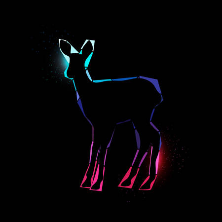 yellow adventure: Vector illustration of a shining deer on black background