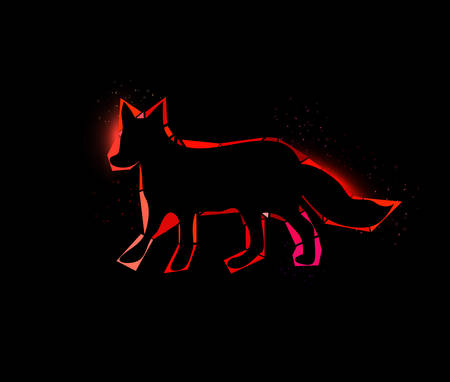 Vector illustration of a shining fox on black background
