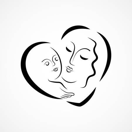 baby moeder: Vector illustratie van een moeder die haar baby