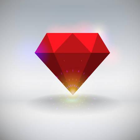 scintillate: Vector illustration of a red shining ruby Illustration