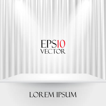 Vector illustration of a white stage curtain